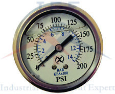 "NEW Liquid Filled Pressure Gauge Compressor Hydraulic 2.5"" 200 PSI Back Mt 1/4"""