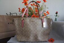 NWT Coach F58318 AVA Signature Tote Handbag Purse Bag Lt Khaki Vintage Pink $350