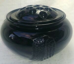 Vintage Art Deco Black Amethyst Vase With Flower Frog Insert 22A