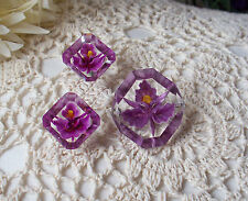 Vintage Purple Orchid Reverse Carved Pin &  Earring Set