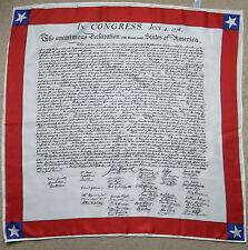 Vintage Congrès Anniversaire Écharpe années 70 States of America 4 JUILLET 1776 Rolled Hem
