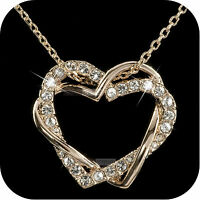 18k rose gold gp made with SWAROVSKI crystal heart pendant necklace