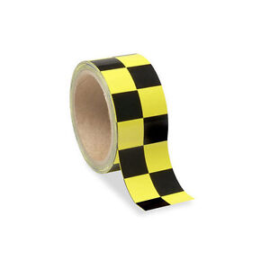 Low Vision Checkerboard Adhesive Tape: Yellow and Black - 2 Inch Wide