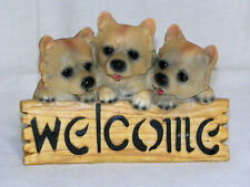 """New Shepherd Cattle Dog Puppies Welcome Sign Decoration Statue Figure 8"""" Cute"""