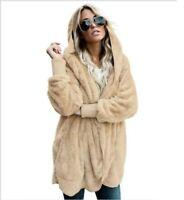 Coat Outwear Hooded Cardigan Jacket Sweater Fluffy Women Long Sleeve Knit Parka