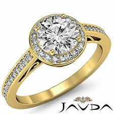 Halo Pave Round Diamond Engagement Filigree Ring GIA F VS2 18k Yellow Gold 2ct