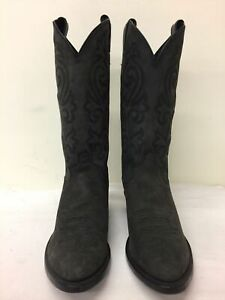 Men's Justin Black Leather Western Boots Size 9D