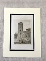 1830 Architectural Ruins TOUR POPE JEAN XXII Grand Cahors France Antique Print