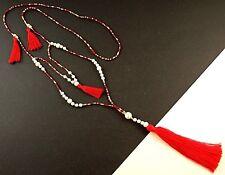 1 Long Red Tassel White Howlite Gemstone Beaded Fashion Necklace # B108