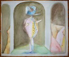 Tristan Fabris encre et aquarelle signée décors de théâtre surréalisme Paris