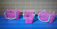 """Lot of 3 Shopkins Season 3 Empty Baskets - Party Favors - Purple with Green 3"""" L"""