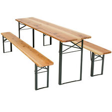 Meuble de jardin de fête table et bancs bois terasse brasserie pliable bar