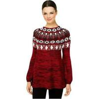 Style Co NEW Bishop Sleeve Patterned Sweater Marled Black Red Combo XL