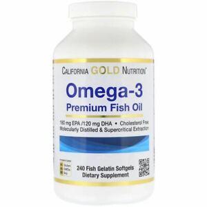 California Gold Nutrition, Omega-3, Premium Fish Oil, 240 Fish Gelatin Softgels