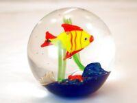 M Design Art Mouth Blown Italy Fish Handmade Art Glass Paperweight TP0009