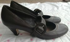 Monsoon Vintage Brown Mary Jane Court Shoes Buckle Small Heel Size 5