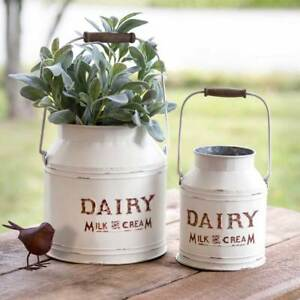 Country DAIRY Buckets with handles in distressed white tin
