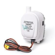12V Boat Automatic Submersible Bilge Water Pump 750GPH Auto With Float Switch #W