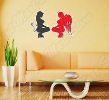 "Half Evil Devil Angel Girl Hell Wall Sticker Room Interior Decor 20""X25"""