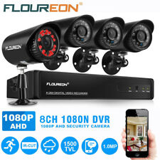 Floureon 8 Channel AHD 1080p DVR Outdoor 1500tvl Home Security Camera System Kit