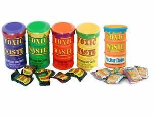 Toxic Waste Candy Rot Gelb Lila Grün Orange Sauer Wanne Süßigkeiten