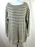 Soft Surroundings Womens XL Oversized Sweater XL Tan Black Striped Boat Neck Top
