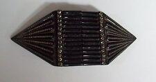 Antique Art Deco Carved Black Lucite & Marcasite Belt Sash Buckle
