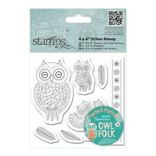 CHARACTERS - CLING MOUNTED RUBBER STAMP SET - Owl Folk Collection - Docrafts