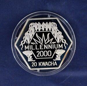 "1999 Malawi Silver Proof 20 Kwacha ""Millennium"" in Capsule with COA"