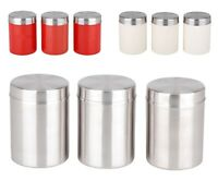 3PC Stainless Steel Tea Coffee Sugar Canister Set Tea Coffee Sugar Containers