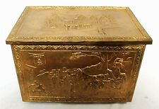 VINTAGE HORSE CARRIAGE COPPER SCENIC EMBOSSED SEWING DOCUMENT FIRE BOX ENGLAND