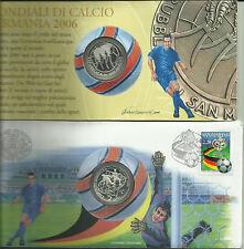 2006.San Marino.Mondiali calcio,Germania.Euro 5 Ag 925.Peso 18 gr.Diametro 32 mm