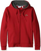 Lacoste Red Sport Full Zip Brushed Fleece Hoodie- M