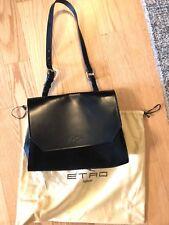 Etro Milano Black Bag Purse Shoulder Leather Suede Paisley Gray Handbag Square