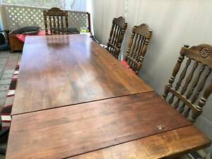 Dining table and 6 chairs solid oak, seats 8,