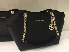 NWT Michael Kors Jet Set Saffiano Leather chain Shoulder Bag ( Black ) NWT