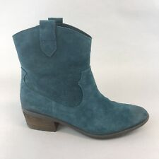 Clarks Blue Leather Suede Ankle Pull On Studded Cowboy Western Boots UK7.5 D