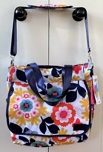 NWT French Bull Tote Diaper Bag Mod Floral Pink Mustard Yellow Navy Messenger