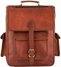 Vintage Leather Backpack Bag 17 In Laptop Rucksack Book Travel Handbag Shoulder