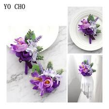 Purple Bridal Bracelet Hand Flower Wrist Corsage Groom Boutonniere Wedding Decor