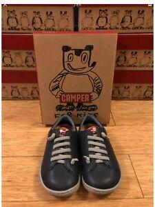 Camper Kid's 'Peu Cami' Leather shoe - Navy/Grey EU size 26, UK8 Kids