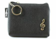 Quality black textured PVC mini bag money purse with carry chain split keyring