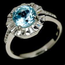 NATURAL 8mm. SKY BLUE TOPAZ & WHITE CZ STERLING 925 SILVER RING SZ 8