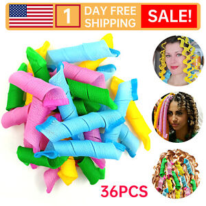 36P No Heat Spiral 2021Hot sale Spiral Magic Hair Curlers with color Styling