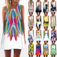 Summer Womens Floral Print Sleeveless A-Line Party Beach Casual Tunic Mini Dress