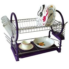 Purple Chrome Dish Drainer Rack Drip Dry Washing Up Plate Drying Tidy Stacking