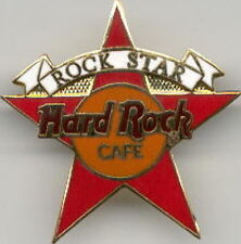 """Hard Rock Cafe 1990s White Banner on RED """"ROCK STAR"""" STAFF PIN HRC Catalog #3385"""
