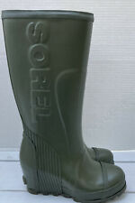 Sorel Joan Matte Olive Army Green Tall Wedge Rain Boots Size 7.5M