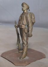 Antique Austrian Bronze Miniature Bearded Soldier Statue Full Battle Gear Wwi