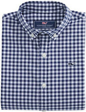 New with Tag- Vineyard Vines Boys Grovedale Cotton Gingham Whale Shirt M (12-14)